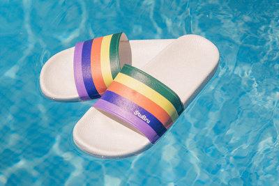 "StuBru - Rainbow ""StuBru"" Slippers met witte zool"